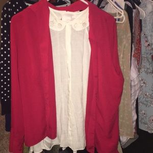 White sleeveless blouse red button up